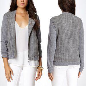 Splendid Quilted Moto Jacket Gray Size Large